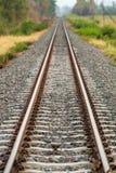 在一个农村场面的铁路轨道与 库存图片