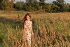 在一个农村草甸在高草中的领域镇静地去一件减速火箭的礼服的女孩有飞行的长的头发 库存图片