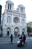 在一个冬日期间,大教堂在尼斯,法国海滨, 库存照片