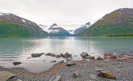 在一个冰河湖的清早 库存照片
