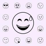 在一个冷汗象的喜悦 网和机动性的Emoji象全集 库存例证
