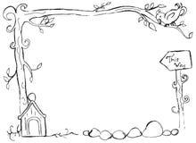 在一个分支的手拉的鸟与鸟舍框架 免版税库存图片