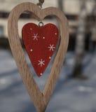 在一个分支的时髦的木心脏特写镜头在冬天 库存照片