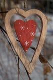 在一个分支的时髦的木心脏特写镜头在冬天 免版税库存照片