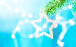 在一个分支的蓝色和银色xmas装饰星与拷贝空间 快活的圣诞节 库存照片