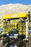 在一个加油站的自动洗涤的汽车在西西里岛,意大利 图库摄影