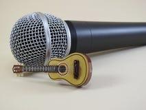 在一个动态话筒前面的声学吉他缩样 库存图片