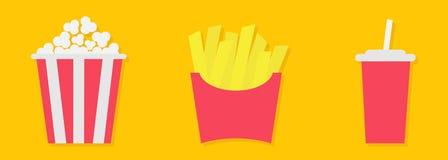 在一个包装纸箱子的炸薯条土豆 玉米花 苏打与秸杆的饮料玻璃 油煎的土豆 象集合 电影戏院象集合 向量例证
