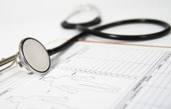 在一个医疗形式的听诊器 是概念现有量有医疗保健帮助延迟药片 库存图片