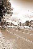 在一个半开放位置的吊桥在阿姆斯特丹 免版税库存照片