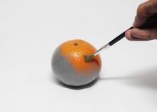 在一个单色果子桔子的绘画与画笔孤立 免版税库存照片