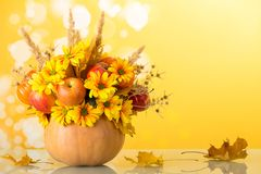 在一个南瓜的明亮的秋天花束在黄色 免版税库存照片