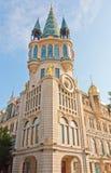 在一个历史建筑的天文学时钟 免版税库存图片