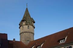 在一个古典德国样式的一个塔 免版税库存图片