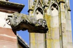 在一个哥特式大教堂的面貌古怪的人,一个塔的细节在蓝天ba的 免版税库存图片