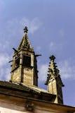 在一个哥特式大教堂的面貌古怪的人,一个塔的细节在蓝天ba的 免版税图库摄影