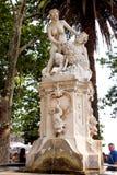 在一个喷泉的雕象在一个公园在杜布罗夫尼克 库存照片