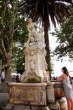 在一个喷泉的雕象在一个公园在杜布罗夫尼克 库存图片