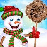 在一个围巾、帽子和手套的愉快的小的雪人有标志的 库存例证