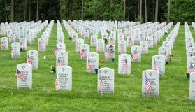 在一个国家公墓的旗子 免版税图库摄影
