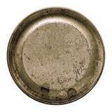 在一个圆的框架的年迈的金属纹理隔绝了白色 免版税库存照片
