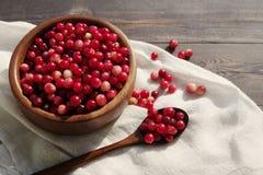 在一个圆的碗的新鲜的红色森林蔓越桔有一把木匙子的 免版税库存照片
