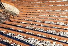 在一个圈子的火车轨道维护的 横穿连接点光透视图铁路运输铁路业务量培训 库存图片