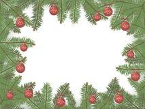 在一个圈子边界的绿色云杉的分支构筑的传染媒介圣诞卡片与与雪花的明亮的红色圣诞节球在a 皇族释放例证