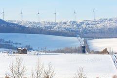 在一个土坎的风轮机在冬天 免版税图库摄影