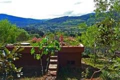在一个土气村庄的一个绿色屋顶 免版税库存图片