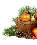 在一个土气样式的圣诞节安排 查出 库存照片
