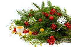 在一个土气样式的欢乐圣诞节构成 库存照片