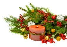 在一个土气样式的欢乐圣诞节构成 免版税库存照片