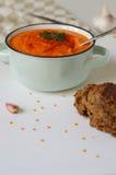 在一个土气碗的扁豆奶油色汤有黑面包片断的  库存照片