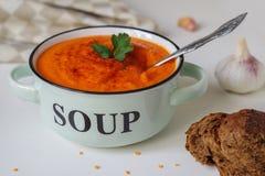 在一个土气碗的扁豆奶油色汤有黑面包片断的  库存图片