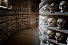 在一个地下墓穴里面的人的头骨在地下墓穴里面 免版税图库摄影