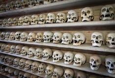 在一个地下墓穴里面的人的头骨在地下墓穴里面 免版税库存照片