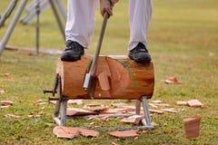 在一个地方一个天国家展示的木砍的事件 免版税库存照片