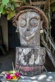 在一个地方房子附近的被雕刻的木雕象,努沙Lembongan,印度尼西亚 免版税库存图片