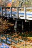 在一个场面的桥梁与秋天颜色在一条小河反射了在印第安纳 免版税图库摄影