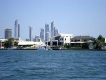 在一个城市的看法从小船 澳洲 库存照片