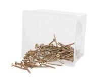 在一个塑料盒的黄铜发怒螺丝 库存照片