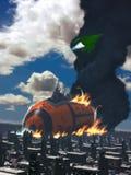 在一个外籍人行星3D-Rendering/Composition的太空飞船灾害 库存图片