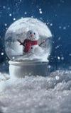 在一个多雪的冬天场面的雪地球 免版税库存图片