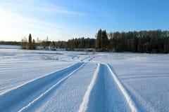 在一个多雪的领域的冬天路 库存照片