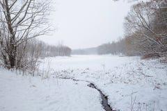 在一个多雪的风景的冬天小河在森林里 免版税库存照片