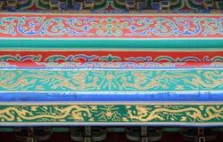 在一个大厦的一块华丽被绘的天花板在故宫在北京 免版税库存照片