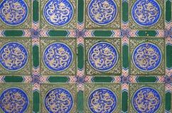 在一个大厦的一块华丽被绘的天花板在故宫在北京 库存照片