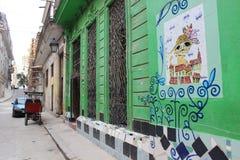 在一个大厦的墙壁上的街道画在哈瓦那,古巴 免版税库存图片
