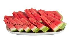在一个大牌照的被切的ââwatermelon 免版税库存照片
